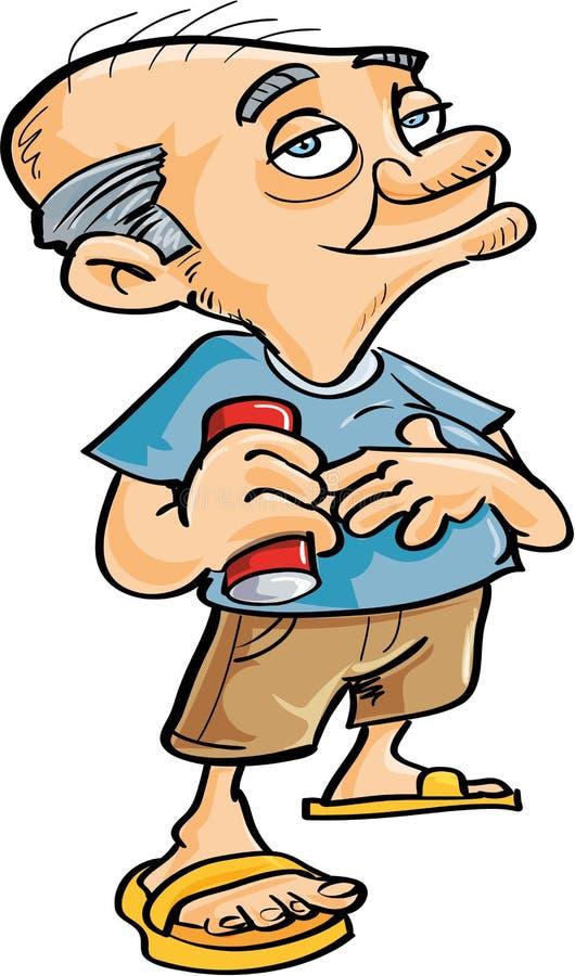 Nettes Trinken des alten Mannes der Karikatur lizenzfreie abbildung