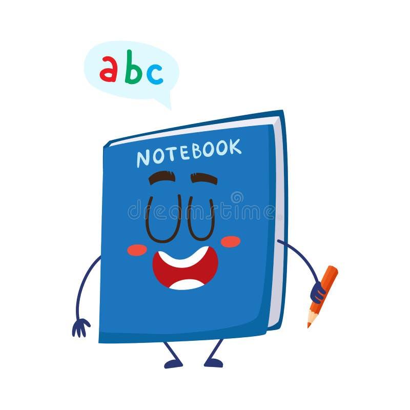 Nettes und lustiges lächelndes Schulnotizbuch, Notizblockcharakter, der Bleistift hält stock abbildung