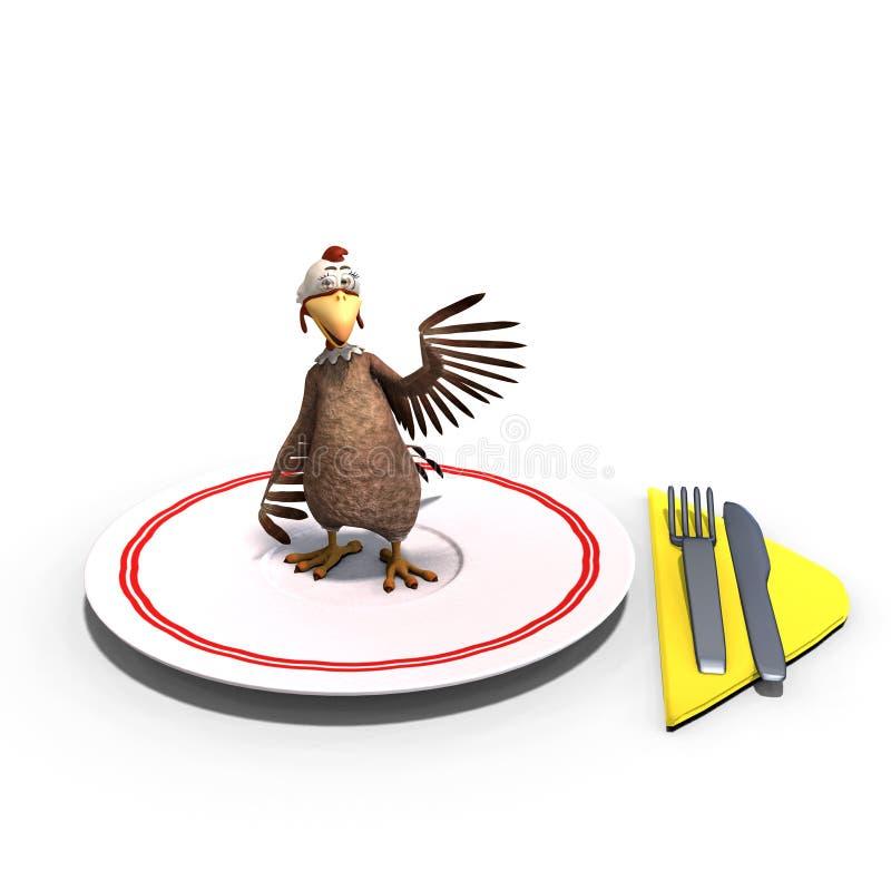 Nettes und lustiges Toon-Huhn diente auf einem Teller als a lizenzfreie abbildung