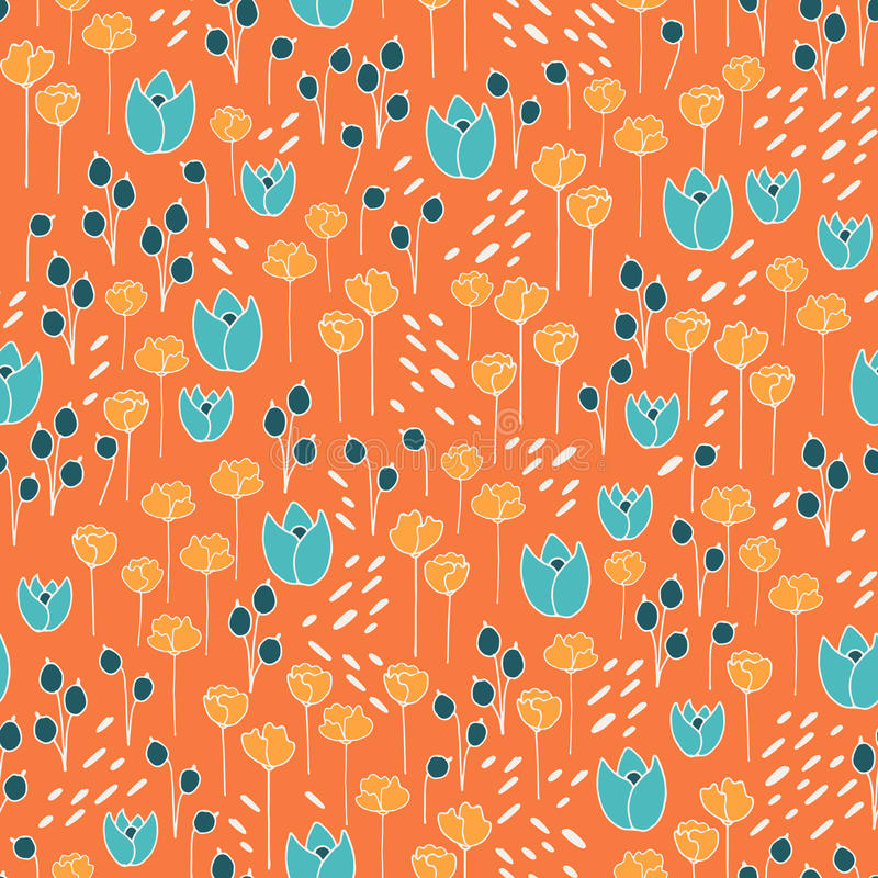 Nettes und modisches Blumenvektormuster mit Tulpen, Mohnblumenblumen und Beeren stock abbildung