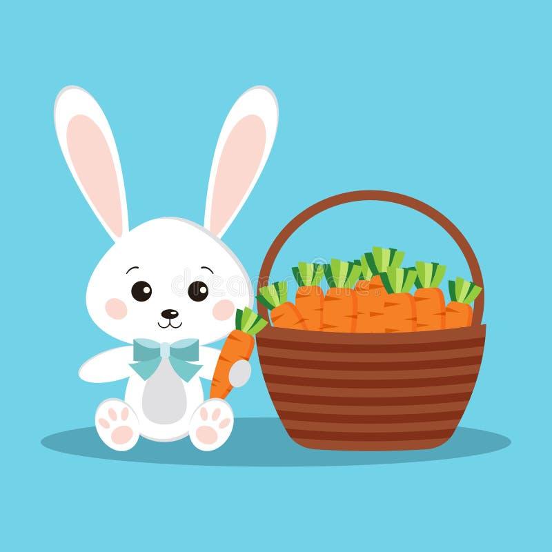 Nettes und süßes weißes Häschen fröhlicher Ostern mit Karotte lizenzfreie abbildung