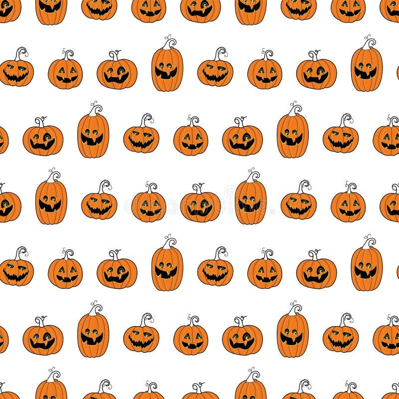 Nettes und Spaßhalloween-Kürbise nahtloses Muster, lächelnde Kürbisgesichter - groß für Halloween-Tapeten, Fahnen, Drucke oder Pa lizenzfreie abbildung