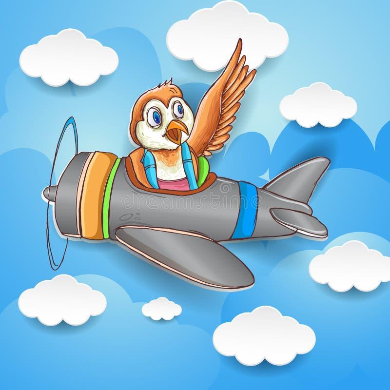 Nettes Vogelfliegen um den Himmel mit Flugzeug, Tapete, Kindert-shirt Design, Karikaturillustration stockfotografie