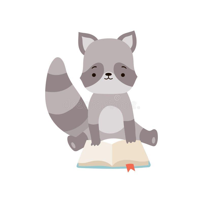 Nettes Waschbär-Lesebuch, entzückender intelligenter Tiercharakter, der mit Buch-Vektor-Illustration sitzt lizenzfreie abbildung