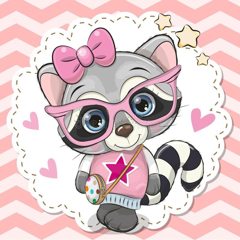 Nettes Waschbärmädchen in den rosa Brillen lizenzfreie abbildung