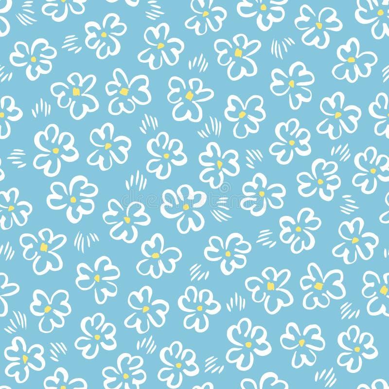 Nettes wei?es abstraktes von Hand gezeichnetes daisis auf nahtlosem Muster des blauen Hintergrundvektors Wunderlicher Ostern-Blum lizenzfreie abbildung