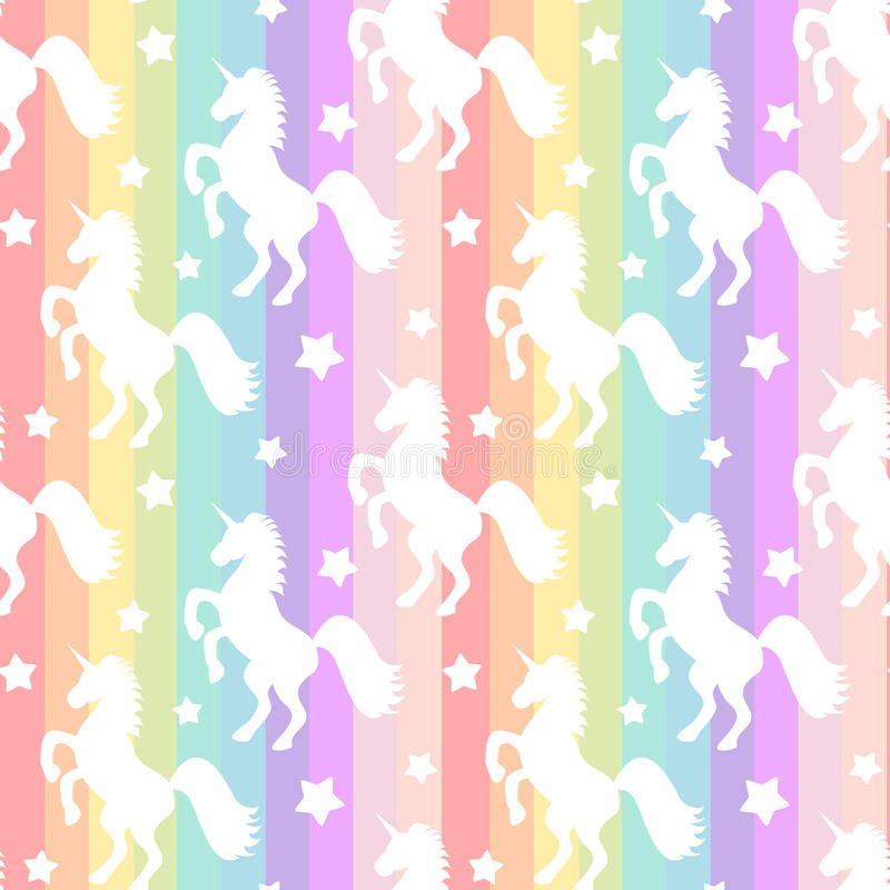 Nettes weißes Einhornschattenbild auf Muster-Hintergrundillustration der bunten Streifen des Regenbogens nahtloser vektor abbildung