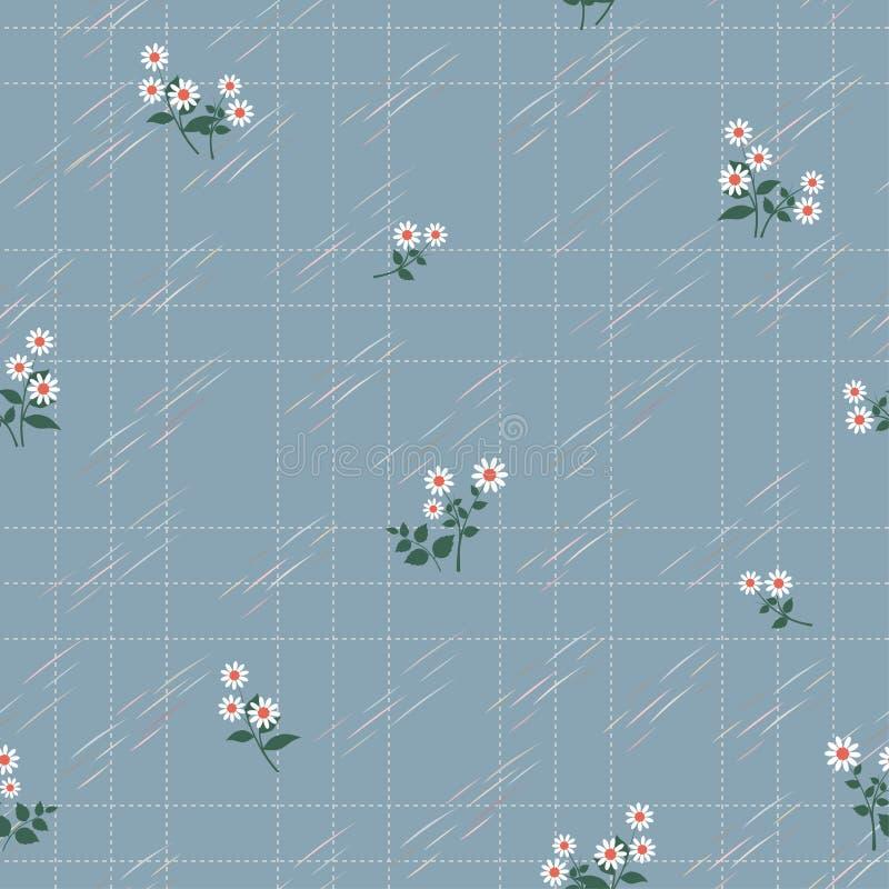Nettes Weiß mit Blumen auf nahtlosem Muster des weichen blauen Hintergrundes für Kinderprodukt, -kleid, -mode, -gewebe, -gewebe,  stock abbildung