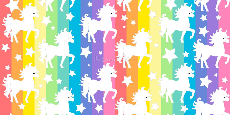 Nettes wei?es Einhornschattenbild auf Vektormuster-Hintergrundillustration der bunten Streifen des Regenbogens nahtloser vektor abbildung