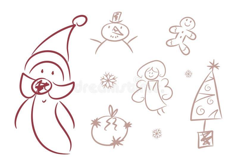 Nettes Weihnachten kritzelt (Abbildungen,?) lizenzfreie abbildung