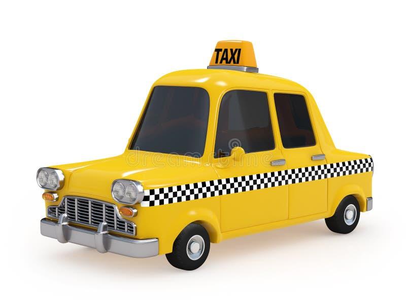 Nettes Weinlese-Gelb-Taxi auf weißem Hintergrund lizenzfreie abbildung