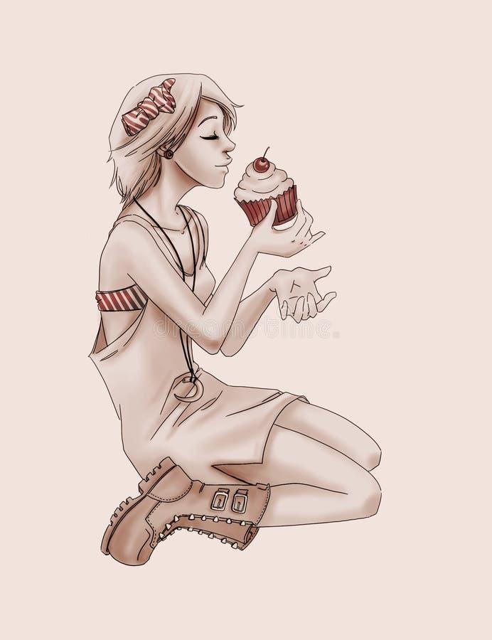 Nettes Weinlesemädchen, das einen köstlichen kleinen Kuchen isst stockbild