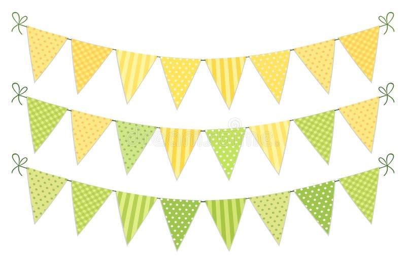 Nettes Weinlesetextilgrüne und gelbe schäbige schicke Flaggenflaggen für Sommerfestivals, Geburtstag, Babyparty stock abbildung