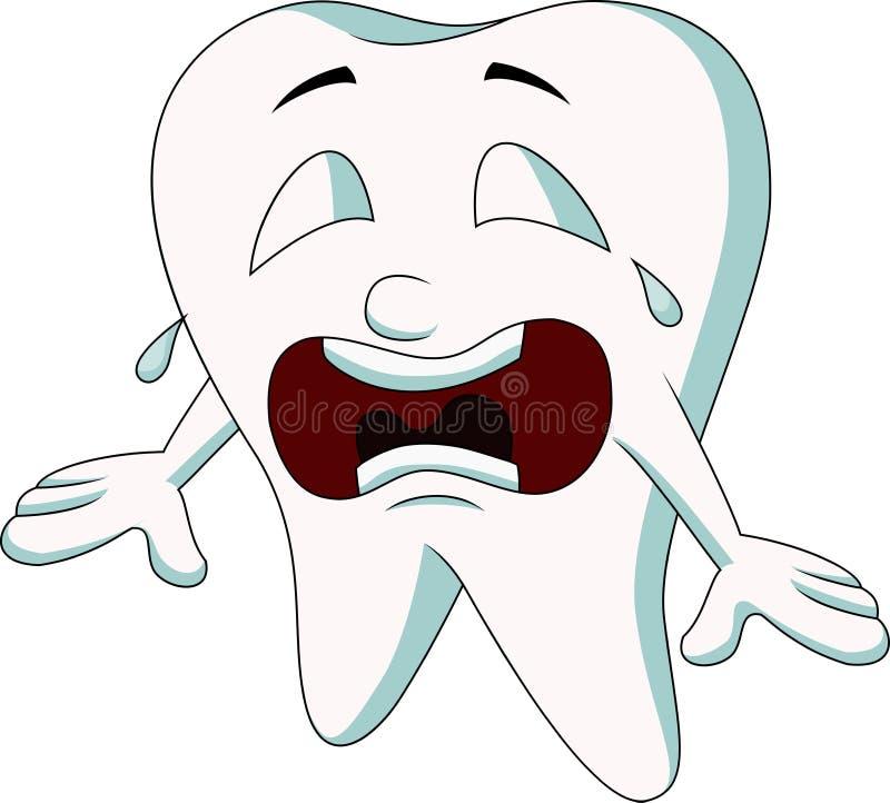 Nettes Zahnkarikaturschreien lizenzfreie abbildung