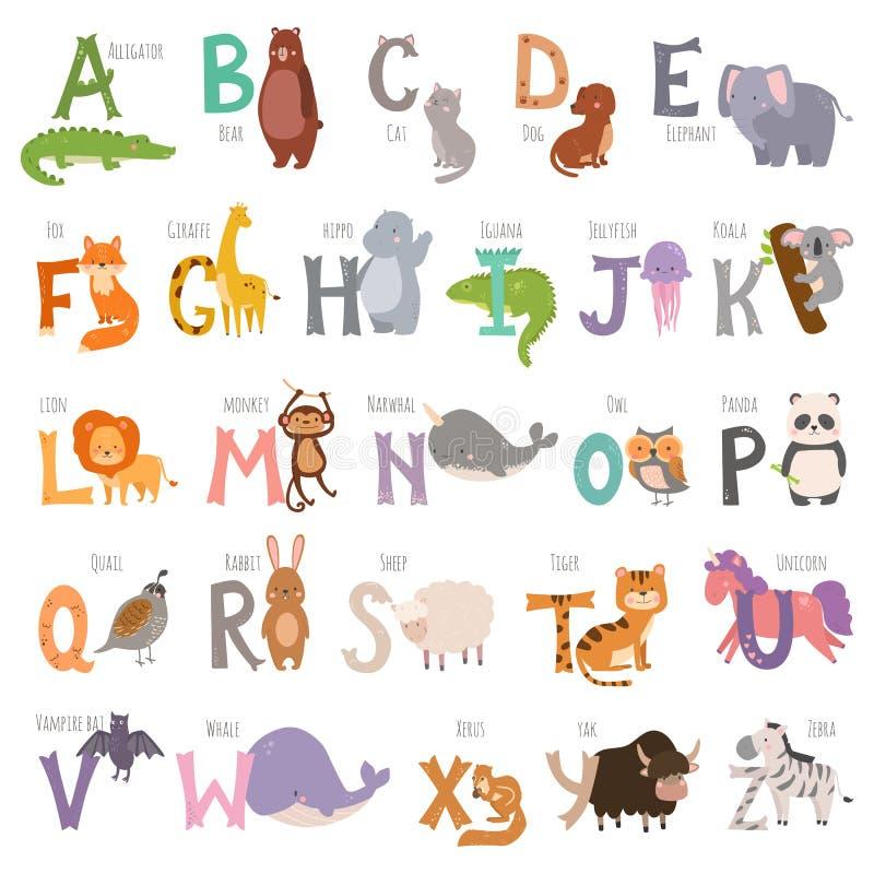 Nettes Zooalphabet mit Karikaturtieren auf weißen Hintergrund- und Schmutzbuchstabewild lebenden tieren die nette lernen Typograf lizenzfreie abbildung