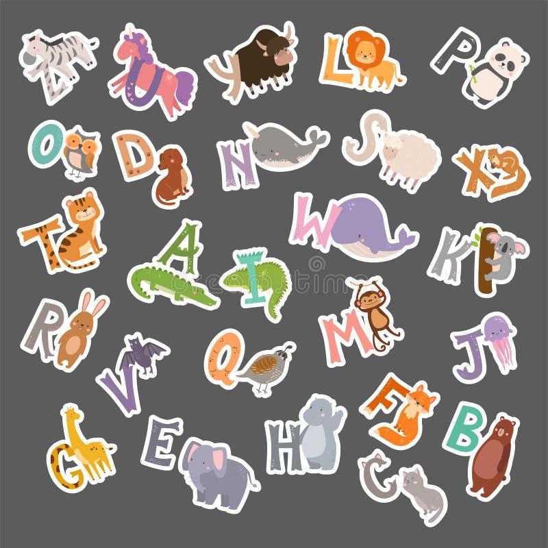 Nettes Zooalphabet mit lustigen Buchstabewild lebenden tieren der Karikaturtiere lernen Typografiegusssprachvektorillustration lizenzfreie abbildung