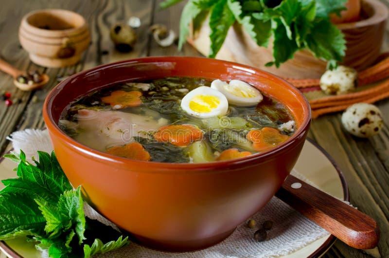 Nettle σούπα με τα αυγά και καρότο στο κύπελλο στον πίνακα στοκ φωτογραφίες με δικαίωμα ελεύθερης χρήσης