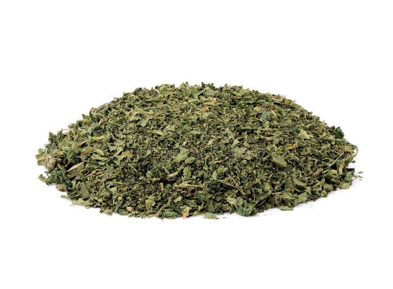 Nettle tea. Dried nettle tea on white background stock photos