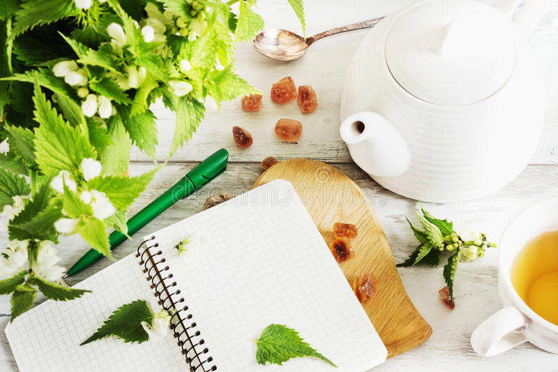 Nettle tea. Kettle, notebook, sugar and fresh nettle branches. health and diet concept royalty free stock photo