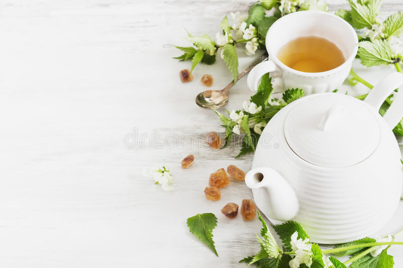 Nettle tea. Kettle, sugar and fresh nettle branches. health and diet concept. copy space background stock photography