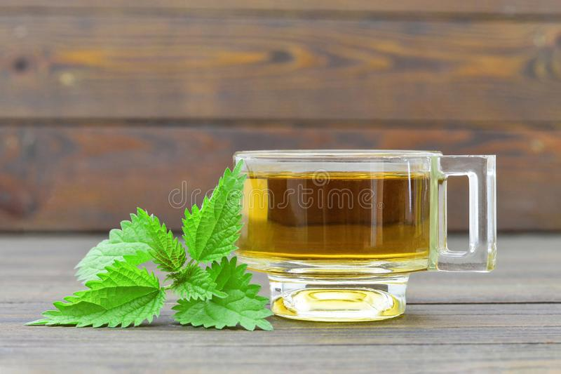 Nettle tea in transparent cup. On wooden background stock image
