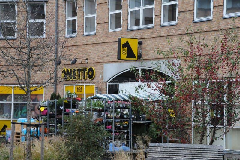 NETTO FOOD MARKET IN COPENHAGEN DENMARK. Copenhagen/Denmark 27.October 2018.. Netto food market in Kastrup danish capital Copenhagen Denmark stock photography