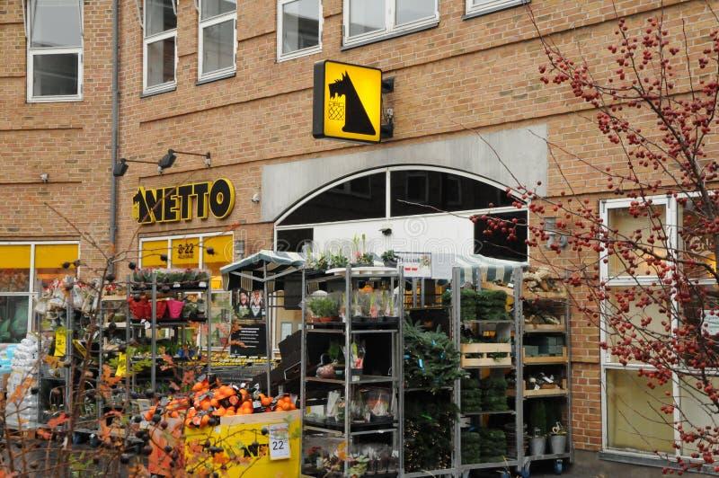 NETTO FOOD MARKET N COPENAHGEN DENMARK. Copenhagen/Denmark 24..November 2018. Neeto food market or nett dispount grocery market in Kastrup Copenahgen Denmark royalty free stock photography