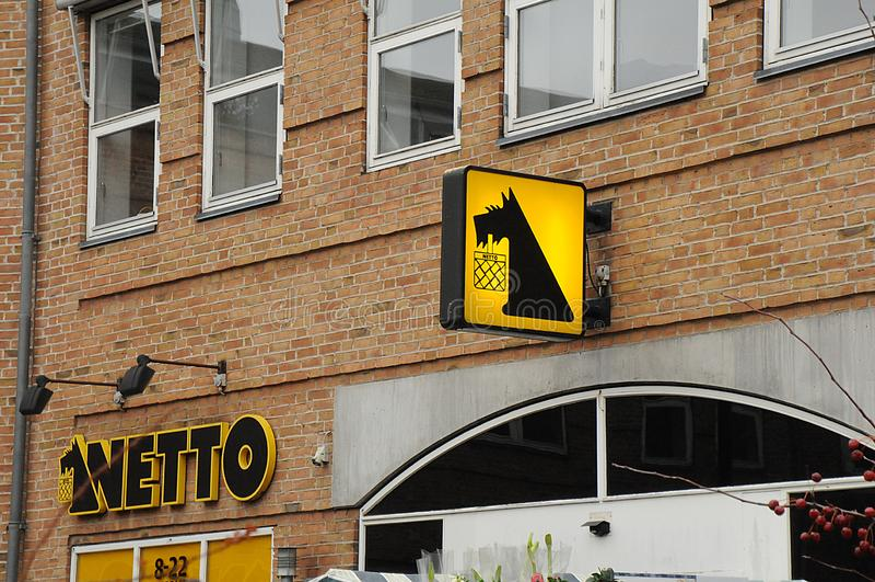 NETTO FOOD MARKET N COPENAHGEN DENMARK. Copenhagen/Denmark 24..November 2018. Neeto food market or nett dispount grocery market in Kastrup Copenahgen Denmark stock photography