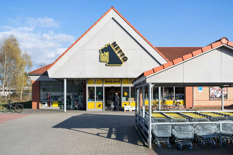 Netto Lebensmitteldiscounter branch in Quickborn Germany. Netto is a Danish discount supermarket operating in Denmark, Germany, Poland and Sweden royalty free stock image