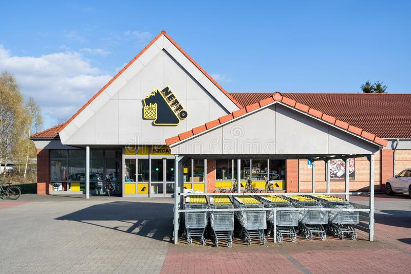 Netto Lebensmitteldiscounter branch in Quickborn, Germany. Netto is a Danish discount supermarket operating in Denmark, Germany, Poland and Sweden stock photo