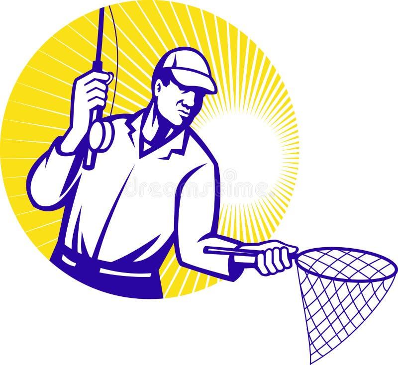 netto retro träsnitt för fiskarefiskefluga vektor illustrationer