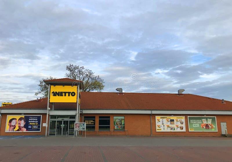 Netto supermarket facade in Poland on nontrading Sunday stock photo