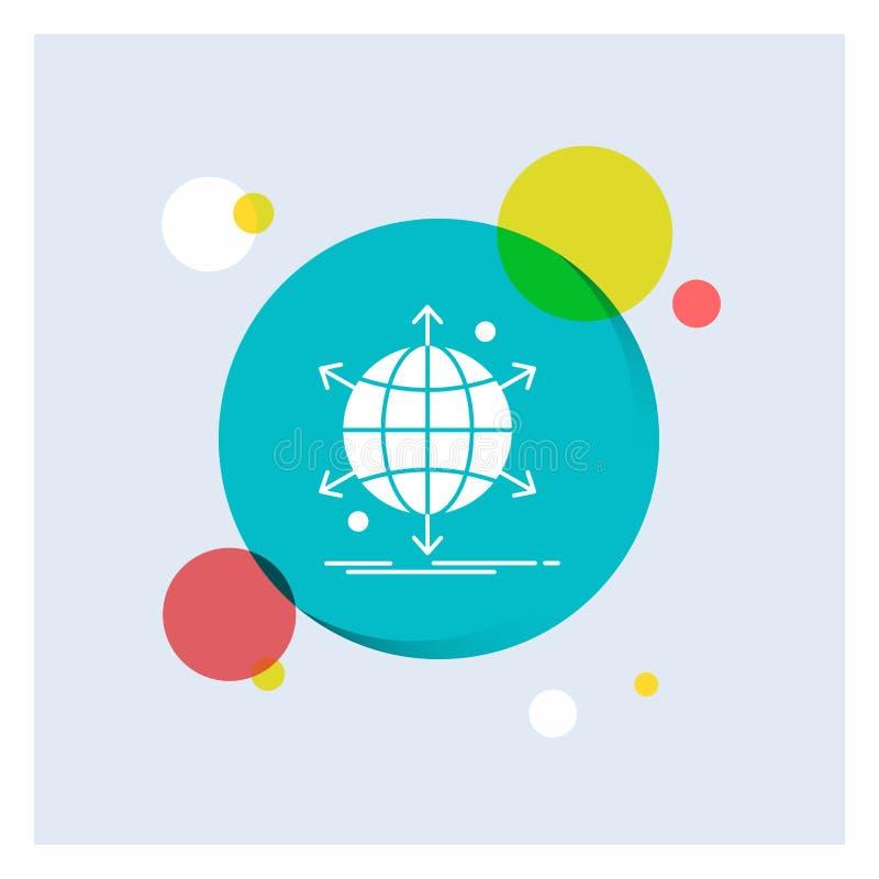 netto zaken, internationaal, netwerk, Achtergrond van de het Pictogram kleurrijke Cirkel van Web de Witte Glyph vector illustratie