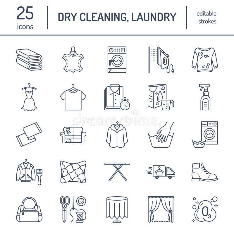 Nettoyage à sec, ligne icônes de blanchisserie Équipement de service de laverie, machine à laver, chaussure d'habillement et répa illustration libre de droits