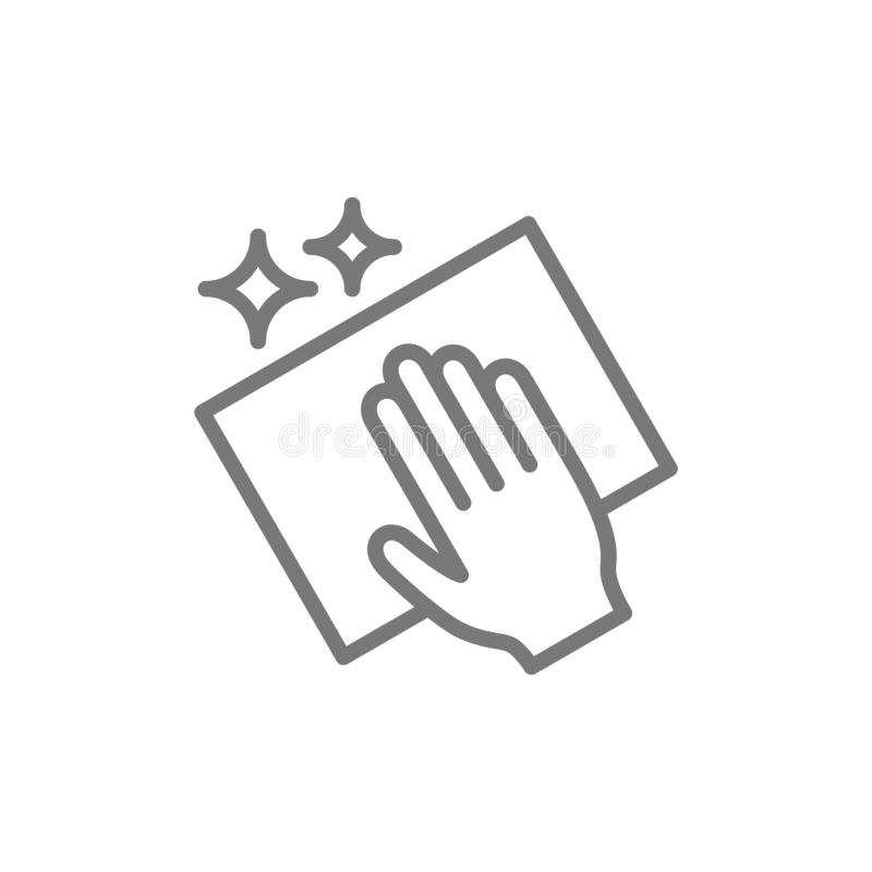 Nettoyage avec la ligne icône de chiffon illustration stock