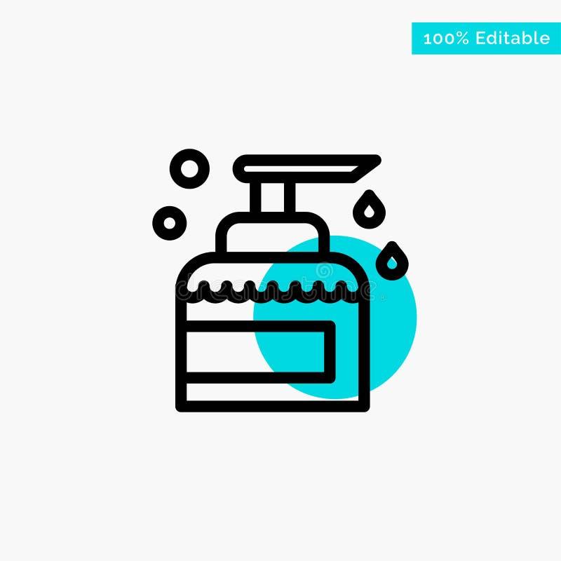 Nettoyage, Chambre, gardant, produit, icône de vecteur de point de cercle de point culminant de turquoise de jet illustration de vecteur
