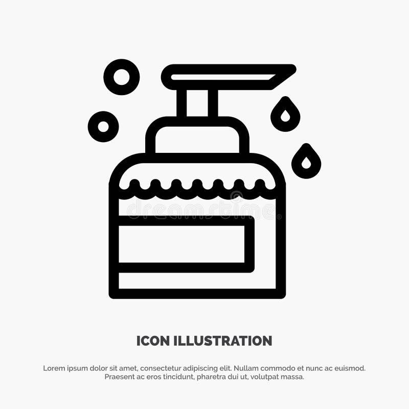 Nettoyage, Chambre, gardant, produit, ligne vecteur de jet d'icône illustration libre de droits