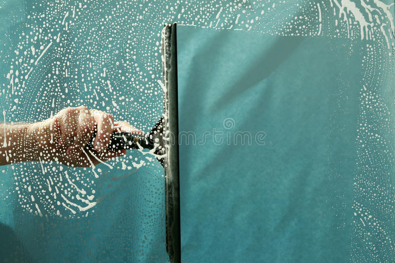 Nettoyage d'hublot photo libre de droits