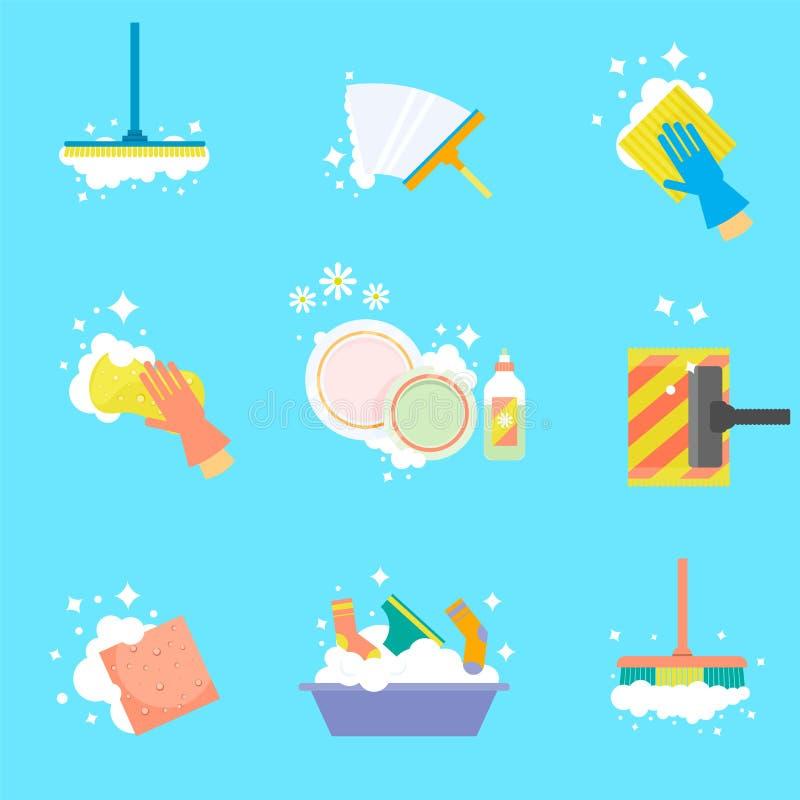 Nettoyage de Chambre Dirigez les icônes dans un style plat d'isolement sur un fond blanc illustration libre de droits