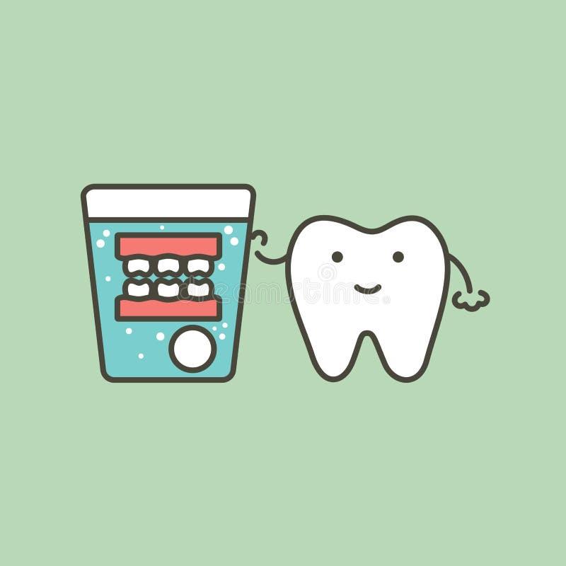 Nettoyage de dentier, dent et dents fausses avec le comprimé effervescent en verre d'eau illustration stock
