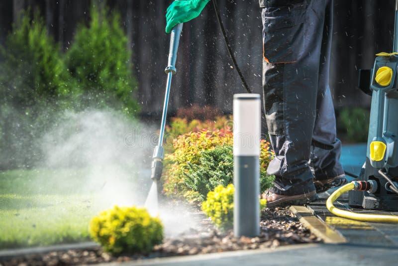 Nettoyage de jardin d'arrière-cour photo libre de droits