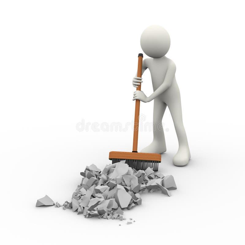 nettoyage de la personne 3d avec la brosse de bâton de plate-forme de balai illustration stock