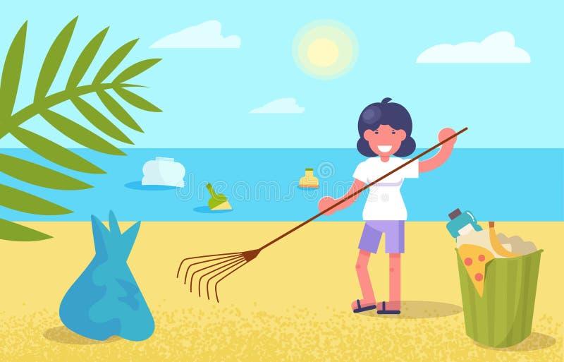 Nettoyage de la plage du vecteur de déchets cartoon Appartement d'isolement d'art illustration libre de droits