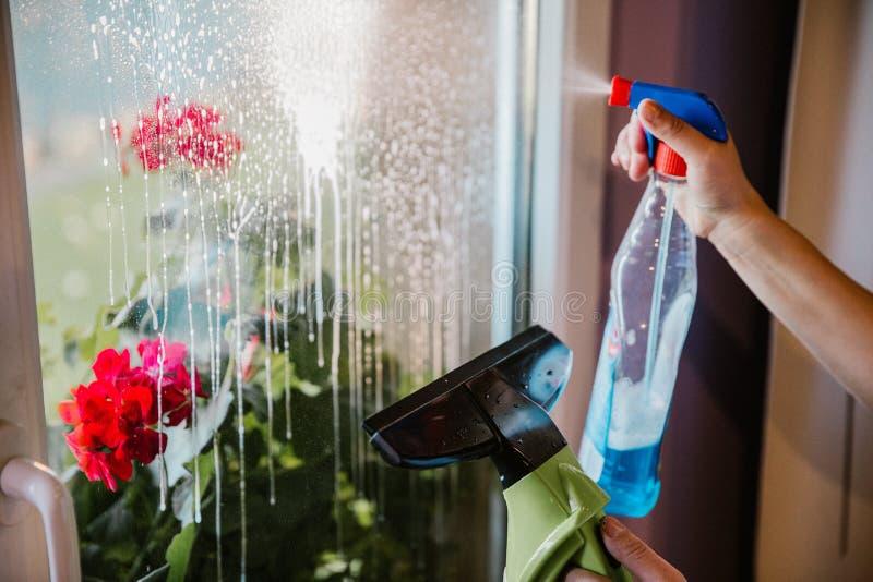 Nettoyage de vitres à la maison photographie stock libre de droits