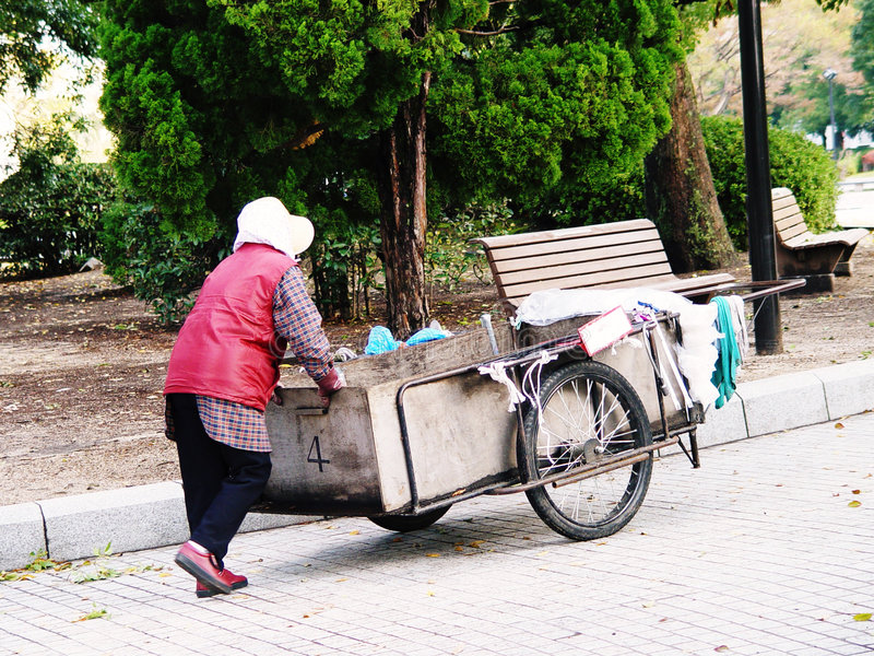 Nettoyeur de femme du Japon Hiroshima photo libre de droits