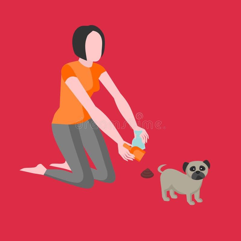 Nettoyez après votre chien La propriétaire de fille nettoie des excréments avec un scoop et un sac de papier Icône d'animal famil illustration stock