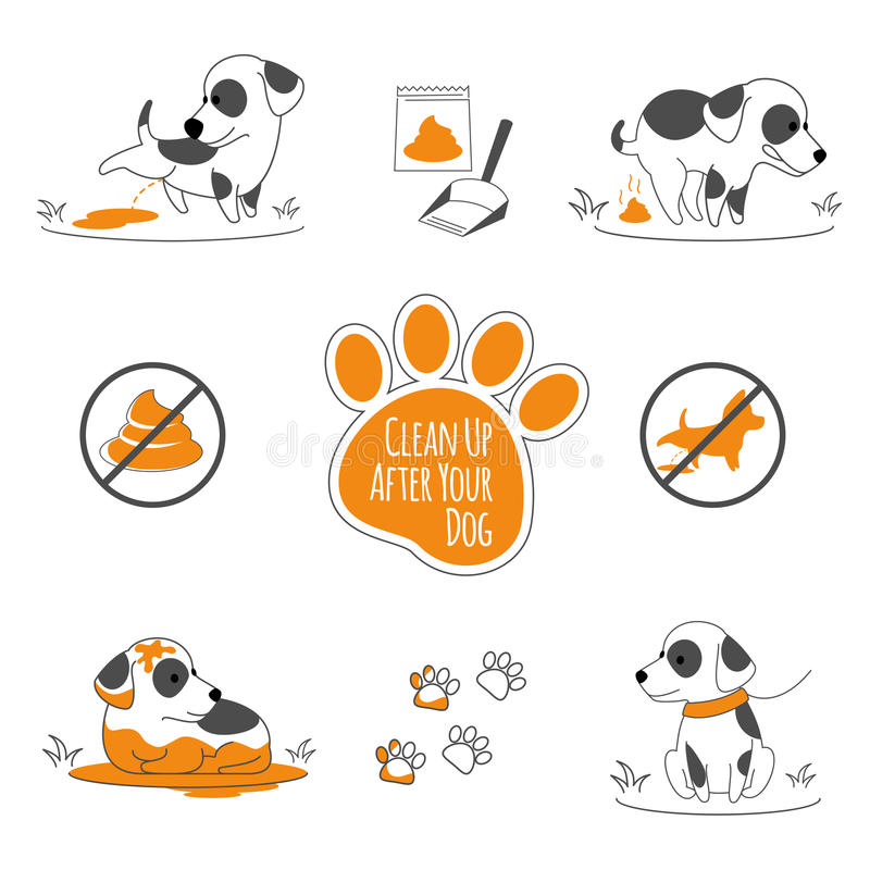 Nettoyez après votre illustration de chien illustration stock