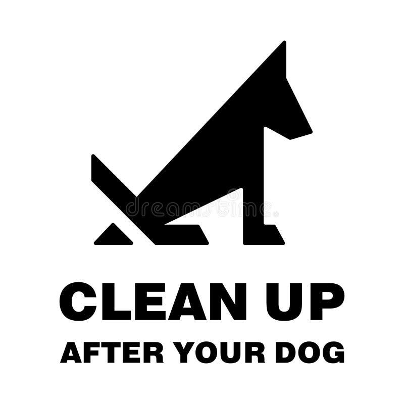 Nettoyez après votre silhouette pooping d'arrêt de chien illustration stock