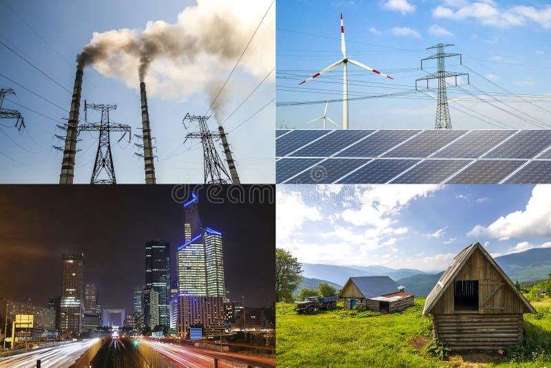Nettoyez contre l'énergie sale Panneaux solaires et turbines de vent contre le fu photos stock