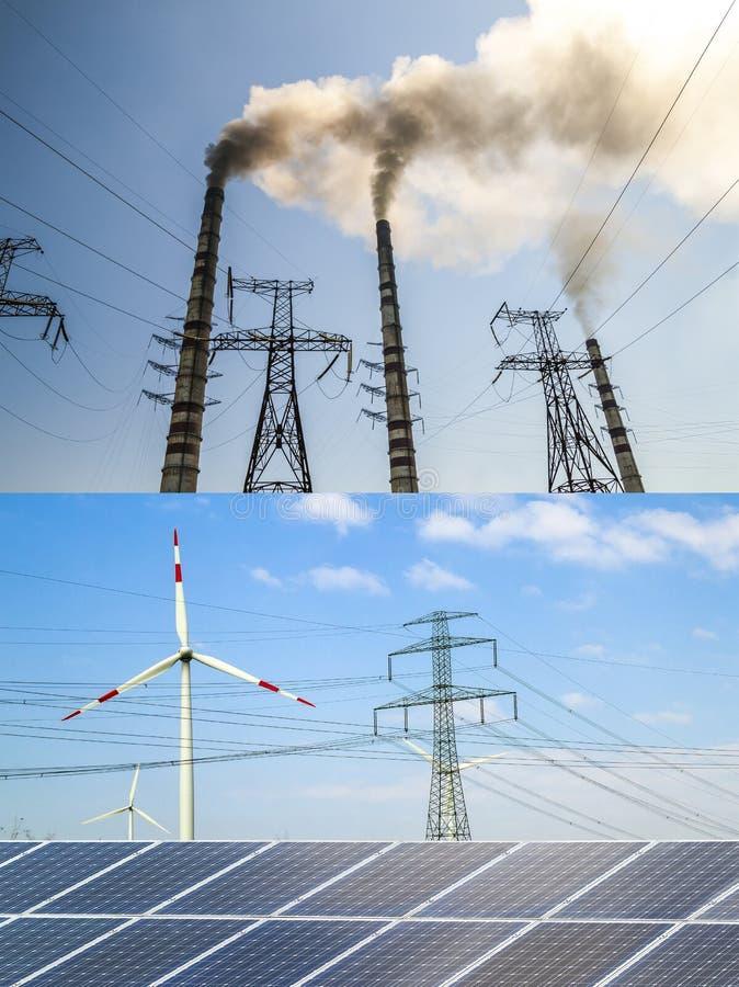 Nettoyez contre l'énergie sale Panneaux solaires et turbines de vent contre le fu photos libres de droits